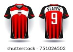soccer jersey template. red and ... | Shutterstock .eps vector #751026502