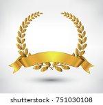 golden leaves wreath .vector... | Shutterstock .eps vector #751030108