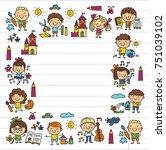 kindergarten school education... | Shutterstock .eps vector #751039102