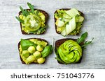 fresh avocado toasts with...   Shutterstock . vector #751043776
