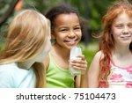 portrait of cute girl looking... | Shutterstock . vector #75104473