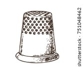 thimble for sewing  sketch... | Shutterstock .eps vector #751048462