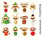 christmas set of cute cartoon... | Shutterstock .eps vector #751049536