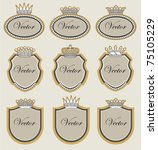 set vector frame with crowns | Shutterstock .eps vector #75105229