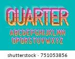 vector retro bold font design ... | Shutterstock .eps vector #751053856