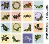 set of christmas greeting cards.... | Shutterstock .eps vector #751072888