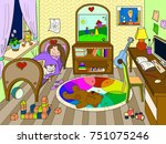 kids on the theme of childhood... | Shutterstock .eps vector #751075246