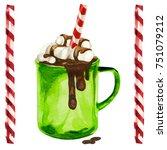 watercolor illustration of warm ...   Shutterstock . vector #751079212
