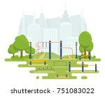 street workout place for... | Shutterstock .eps vector #751083022