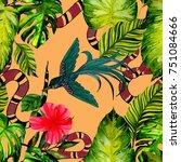 fashion print. watercolor... | Shutterstock . vector #751084666