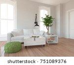white scandinavian room... | Shutterstock . vector #751089376