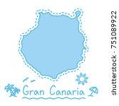 gran canaria island map... | Shutterstock .eps vector #751089922