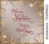 vintage christmas decorative... | Shutterstock .eps vector #751090012