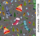 seamless christmas pattern with ... | Shutterstock . vector #751097338