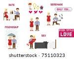 pixel art style. love. vector... | Shutterstock .eps vector #75110323