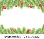 watercolor christmas... | Shutterstock . vector #751106332