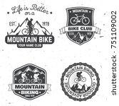 set of mountain biking clubs.... | Shutterstock .eps vector #751109002