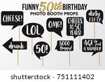set of funny fifty birthday... | Shutterstock .eps vector #751111402