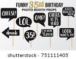set of funny thirty five... | Shutterstock .eps vector #751111405