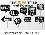 set of funny forty birthday... | Shutterstock .eps vector #751111408