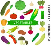 vegetables icons set in... | Shutterstock . vector #751115656