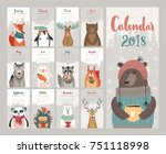 calendar 2018. cute monthly... | Shutterstock .eps vector #751118998