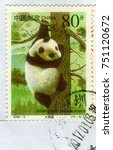 Small photo of GOMEL, BELARUS, 27 OCTOBER 2017, Stamp printed in China shows image of the Ailuropoda melanoleuca, circa 2000.