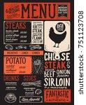 steak menu for restaurant and...   Shutterstock .eps vector #751123708