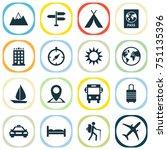 exploration icons set.... | Shutterstock .eps vector #751135396