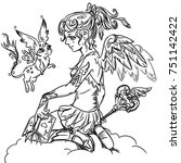 coloring page with magic girl... | Shutterstock . vector #751142422