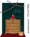 christmas card. template for... | Shutterstock .eps vector #751147882