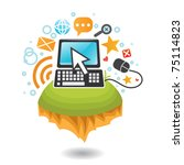 computer and internet world | Shutterstock .eps vector #75114823