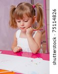 little girl drawing in her room | Shutterstock . vector #75114826
