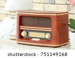 retro radio on table at home | Shutterstock . vector #751149268