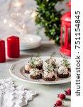 smoked salmon  cream cheese ... | Shutterstock . vector #751154845