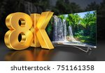 ultra hd tv with a view of the... | Shutterstock . vector #751161358