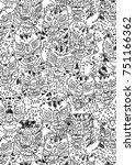 big cat tigers pattern | Shutterstock . vector #751166362