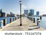 deserted wooden jetty with... | Shutterstock . vector #751167376