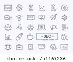 Search Engine Optimization Vector Outline Icons. SEO Elements. | Shutterstock vector #751169236
