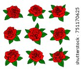red roses with green leaves...   Shutterstock . vector #751170625