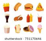 cartoon fast food  burger ... | Shutterstock . vector #751170646