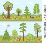 forest landscapes set. cartoon... | Shutterstock . vector #751170832