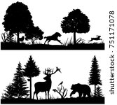 Stock photo wild animals silhouettes in green fir forest illustration silhouette of animal in nature wood 751171078