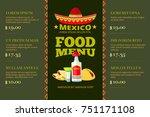mexican cuisine food restaurant ... | Shutterstock . vector #751171108