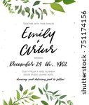 wedding invitation  floral... | Shutterstock .eps vector #751174156