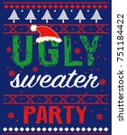 ugly sweater party | Shutterstock .eps vector #751184422