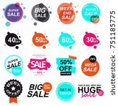 set of flat design sale stickers | Shutterstock .eps vector #751185775