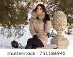 amazing cute woman in winter | Shutterstock . vector #751186942