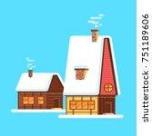 cute bright cartoon house on... | Shutterstock .eps vector #751189606