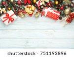 christmas fir tree branches... | Shutterstock . vector #751193896
